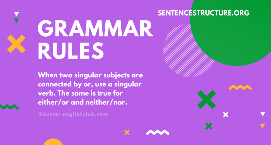 grammar rules singular subjects