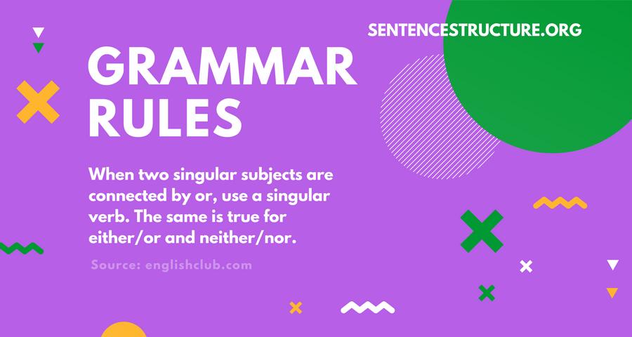 grammar rules singular subjects